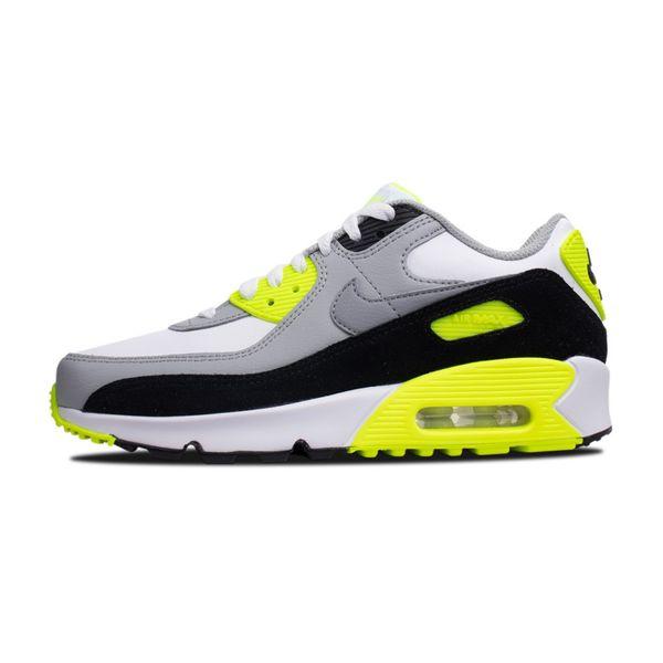 Tênis Nike Air Max 90 Infantil Leather Volt 2020 101 white/particle grey 31